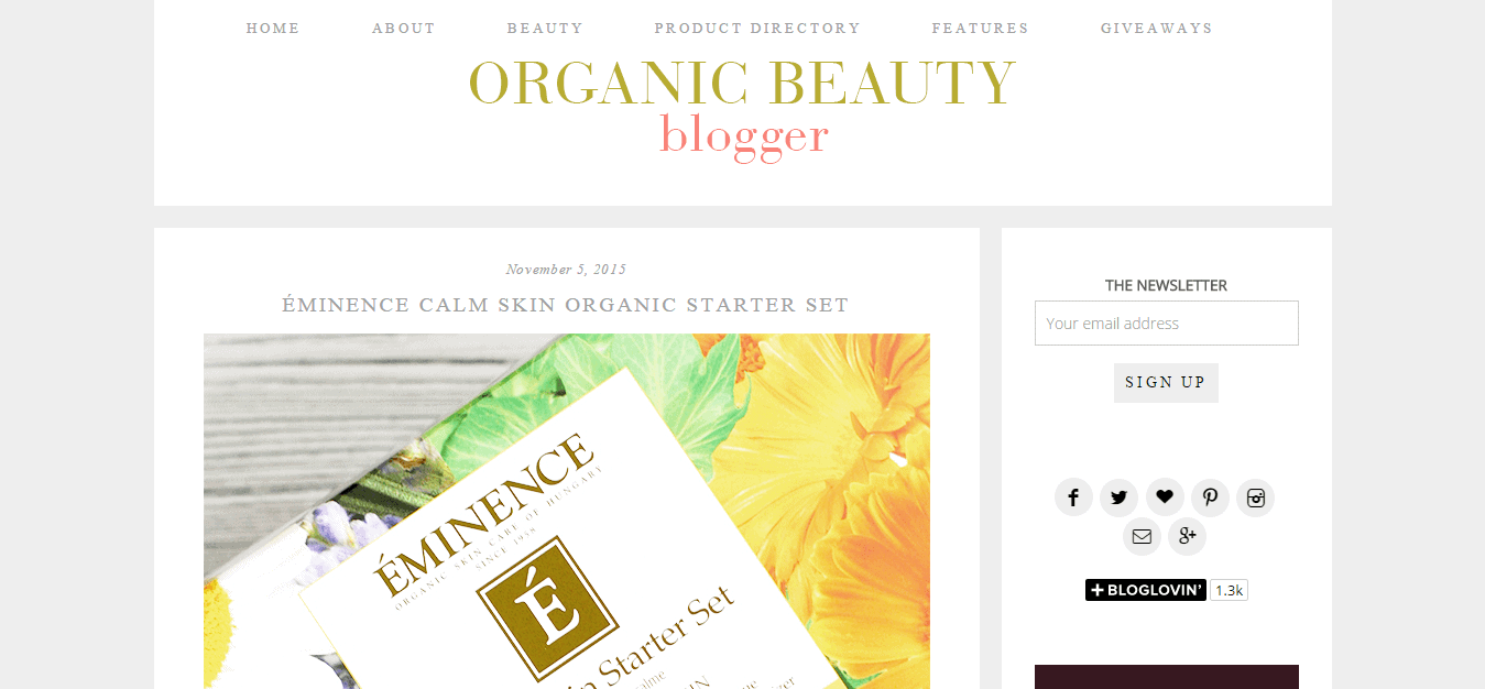 Organic Beauty Blogger
