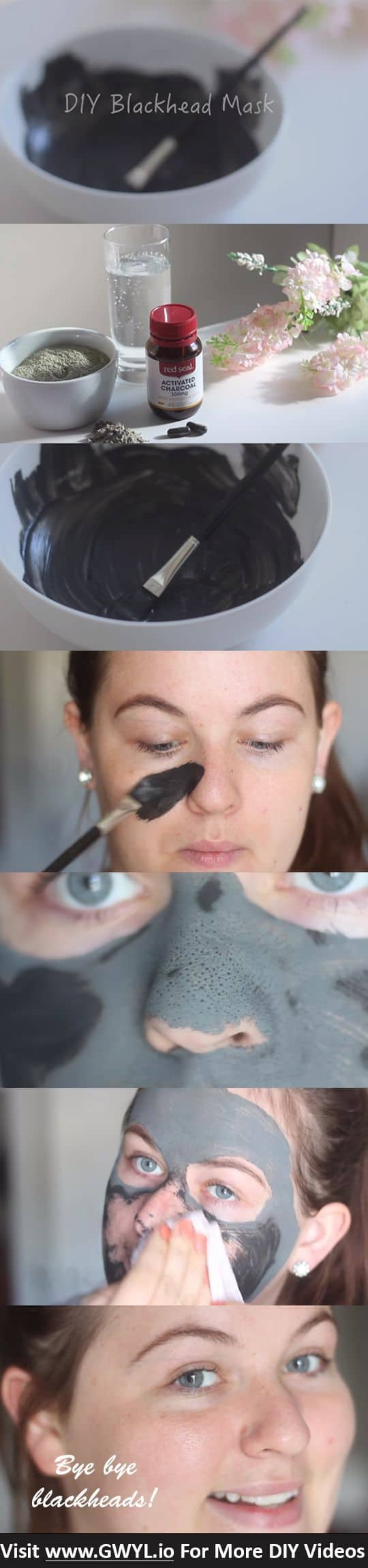 This rinse-off face mask is as good as the ones bought in stores. Its main ingredients are activated charcoal and instead of bentonite clay, makes use of French green clay.
