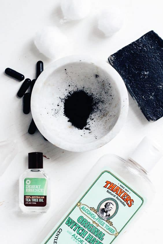 Aside from activated charcoal, this diy charcoal witch hazel face mask uses 2 ingredients that fight acne-causing bacteria. These said ingredients are tea tree oil and witch hazel.