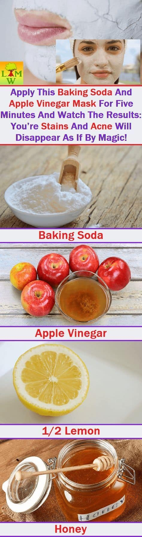 Two powerful acne-fighting ingredients come together in this DIY face mask for pores. Apple cider vinegar wards off bacteria while baking soda exfoliates to leave you with soft, clear skin.
