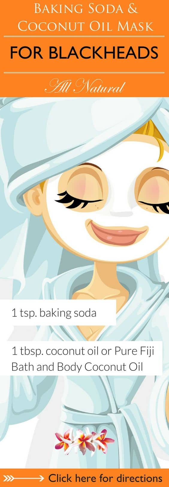 This DIY face mask for pores uses baking soda as one of its main ingredients. It has coconut oil, too, to ensure that your skin remains soft and supple.
