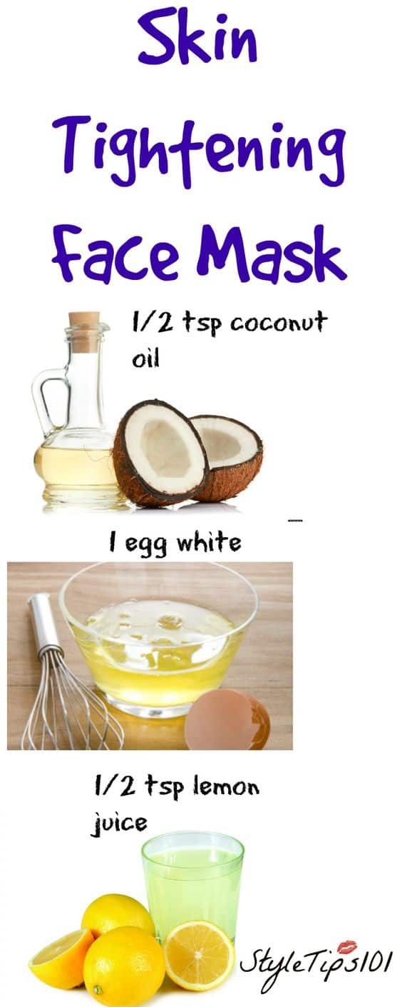 This DIY face mask for wrinkles is one of the easiest recipes you can try. It uses some of the most effective anti-aging ingredients to give you clearer, youthful-looking skin. All you'll need are coconut oil, egg white and lemon juice.