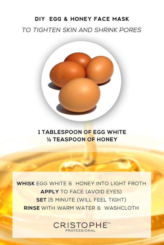 Any DIY face mask for pores wouldn't be complete without egg whites. This face mask even has honey in it so while your skin is tightened, it remains soft and supple at the same time.