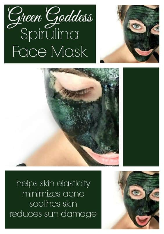 It might leave you looking green for a few minutes, but this DIY face mask for dry skin is good for the skin as it is for the body. It contains spirulina, which is widely known as a superfood.