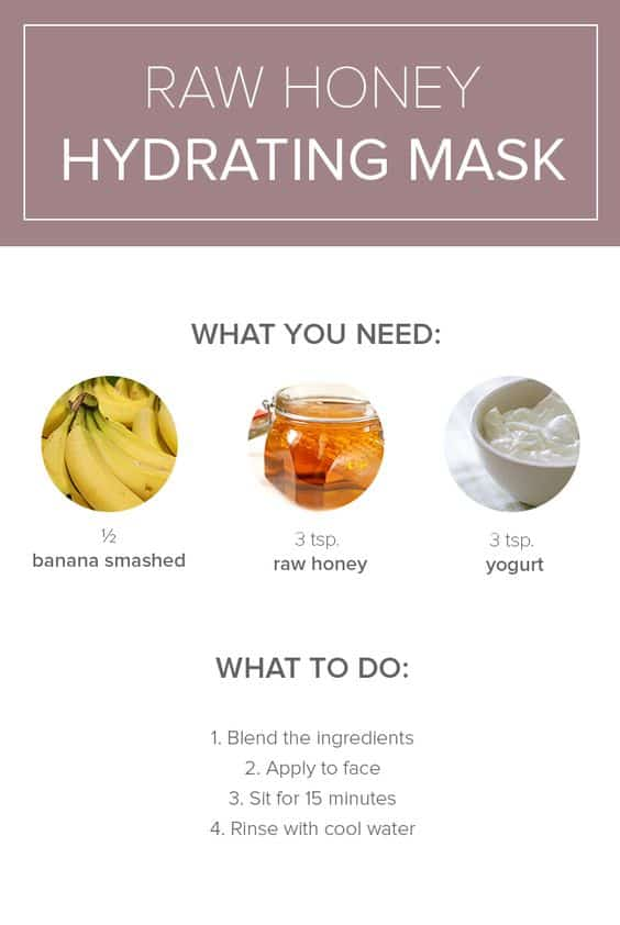 People with dry skin can benefit a lot from honey, which is the main ingredient of this DIY face mask for dry skin. This mask also has yogurt and banana which are equally hydrating.